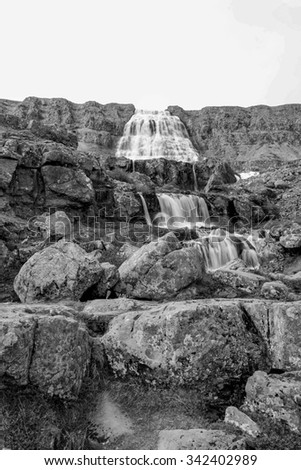 Dynjandi, Fjallfoss waterfall in the Westfjords of Iceland in black and white
