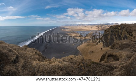 Dyrholaey, black sand beach in Iceland