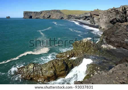Dyrholaey near Vik in Myrdal, Iceland - stock photo