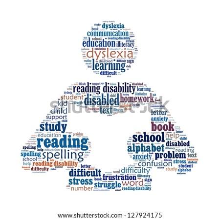 Dyslexia in word collage - stock photo