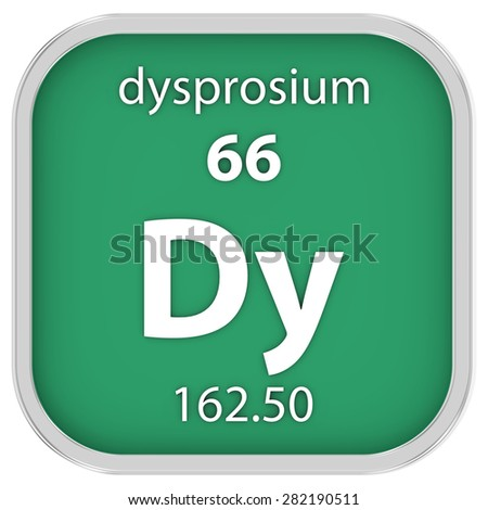 Dysprosium material on the periodic table. Part of a series. - stock photo