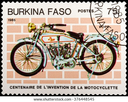 DZERZHINSK, RUSSIA - FEBRUARY 04, 2016: A postage stamp of BURKINA FASO shows vintage motorcycle, Pope, circa 1985 - stock photo