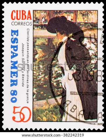 DZERZHINSK, RUSSIA - FEBRUARY 11, 2016: A postage stamp of CUBA shows woman in coat, circa 1980 - stock photo