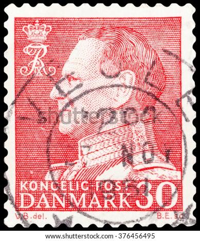 DZERZHINSK, RUSSIA - FEBRUARY 04, 2016: A postage stamp of DENMARK shows King Frederik, circa 1961 - stock photo
