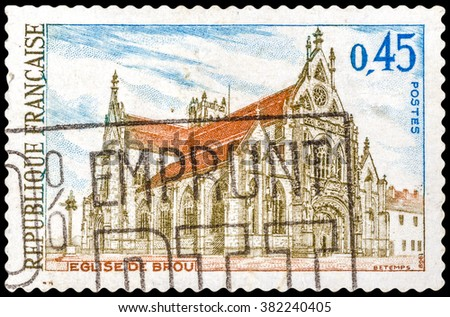 DZERZHINSK, RUSSIA - FEBRUARY 11, 2016: A postage stamp of FRANCE shows Brou Church, Bourg-en-Bresse, the Ain department, the Rhone-Alpes region, circa 1969 - stock photo