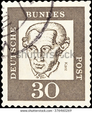 DZERZHINSK, RUSSIA - FEBRUARY 04, 2016: A postage stamp of GERMANY shows portrait Immanuel Kant, circa 1961 - stock photo