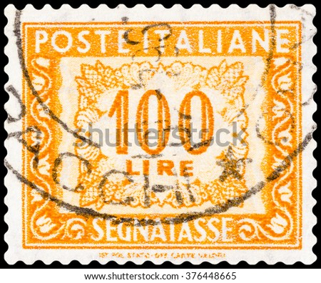 DZERZHINSK, RUSSIA - FEBRUARY 04, 2016: A postage stamp of ITALY shows 100 lire, circa 1961 - stock photo