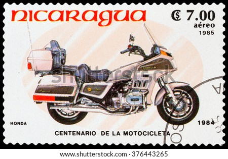 DZERZHINSK, RUSSIA - FEBRUARY 04, 2016: A postage stamp of NICARAGUA shows Motorcycle HONDA, 1984, circa 1985 - stock photo