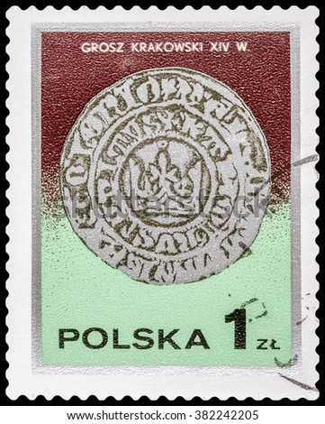 DZERZHINSK, RUSSIA - FEBRUARY 11, 2016: A postage stamp of POLAND shows Ancient Polish coin, circa 1980 - stock photo