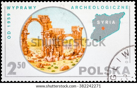 DZERZHINSK, RUSSIA - FEBRUARY 11, 2016: A postage stamp of POLAND shows Expedition to Syria, circa 1980 - stock photo