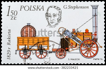 "DZERZHINSK, RUSSIA - FEBRUARY 11, 2016: A postage stamp of POLAND shows George Stephenson and his locomotive ""Rocket"", 1829, circa 1976 - stock photo"