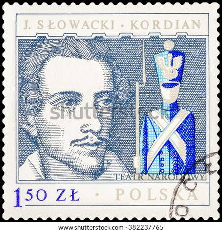 "DZERZHINSK, RUSSIA - FEBRUARY 11, 2016: A postage stamp of POLAND shows portrait of the playwright and poet Juliusz Slovacki and scene of play ""Kordian"", circa 1980 - stock photo"