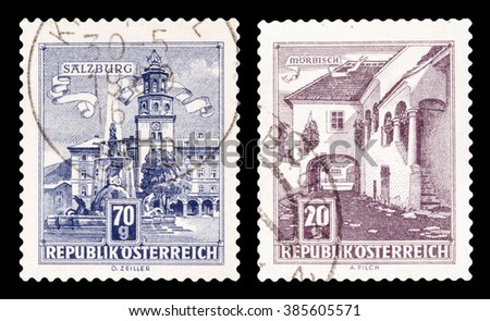 DZERZHINSK, RUSSIA - FEBRUARY 04, 2016: Set of a postage stamp of AUSTRIA shows famous buildings, circa 1957