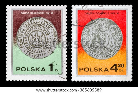 DZERZHINSK, RUSSIA - FEBRUARY 11, 2016: Set of a postage stamp of POLAND shows Ancient Polish coin, circa 1980 - stock photo