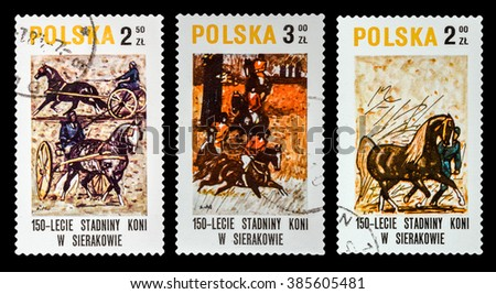 DZERZHINSK, RUSSIA - FEBRUARY 11, 2016: Set of a postage stamp of POLAND shows horses, circa 1980 - stock photo