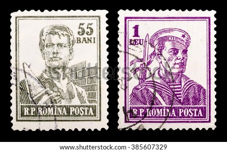 DZERZHINSK, RUSSIA - FEBRUARY 04, 2016: Set of a postage stamp of ROMANIA shows mason and profession mariner, circa 1955 - stock photo