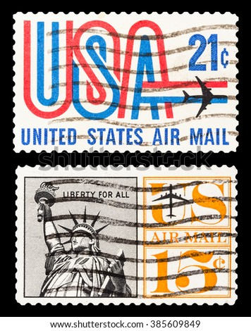 DZERZHINSK, RUSSIA - FEBRUARY 04, 2016: Set of a postage stamp of USA shows Air Mail USA, circa 1961-1974 - stock photo