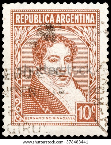 DZERZHINSK, RUSSIA - JANUARY 18, 2016: A postage stamp of ARGENTINA shows portrait of Bernardino Rivadavia, The First President of Argentina, 1826 - 1827, circa 1945