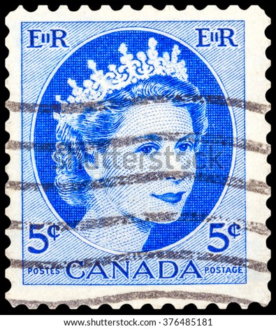 DZERZHINSK, RUSSIA - JANUARY 18, 2016: A postage stamp of CANADA shows Portrait of Queen Elizabeth 2nd, series, circa 1956 - stock photo