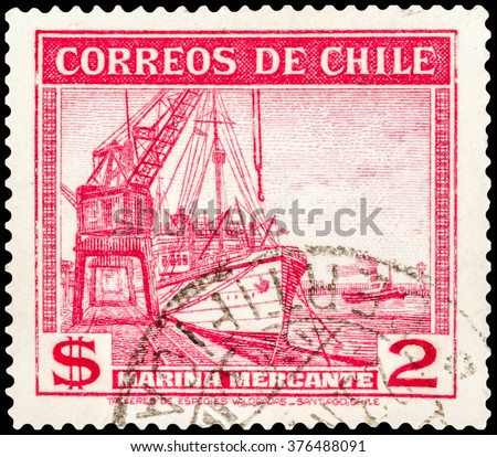 "DZERZHINSK, RUSSIA - JANUARY 18, 2016: A postage stamp of CHILE shows steamship merchant fleet ""Poderoso"", circa 1939"