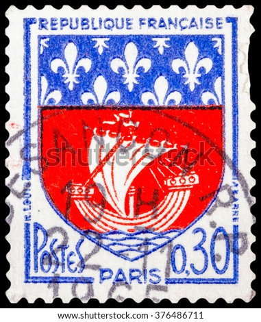 DZERZHINSK, RUSSIA - JANUARY 18, 2016: A postage stamp of FRANCE shows Paris Coat of Arms, circa 1960 - stock photo