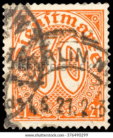 DZERZHINSK, RUSSIA - JANUARY 18, 2016: A postage stamp of GERMANY shows numeric value, circa 1920