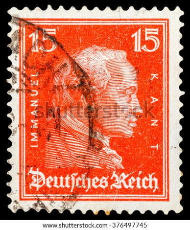 DZERZHINSK, RUSSIA - JANUARY 18, 2016: A postage stamp of GERMANY shows portrait of Immanuel Kant, philosopher, circa 1926 - stock photo