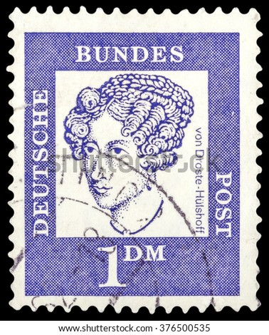 """DZERZHINSK, RUSSIA - JANUARY 18, 2016: A postage stamp of GERMANY shows portrait of Von Droste-Hulshoff, series """"Famous Germans"""", circa 1961 - stock photo"""