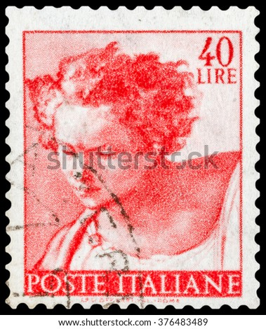 DZERZHINSK, RUSSIA - JANUARY 18, 2016: A postage stamp of ITALY shows head of prophet Daniel from Sistine Chapel, circa 1961 - stock photo