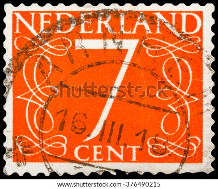 DZERZHINSK, RUSSIA - JANUARY 18, 2016: A postage stamp of NETHERLANDS shows numeric value 7 cent, circa 1955 - stock photo