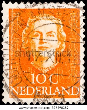 DZERZHINSK, RUSSIA - JANUARY 18, 2016: A postage stamp of NETHERLANDS shows of Queen Juliana Louise Emma Marie Wilhelmina head, circa 1950 - stock photo