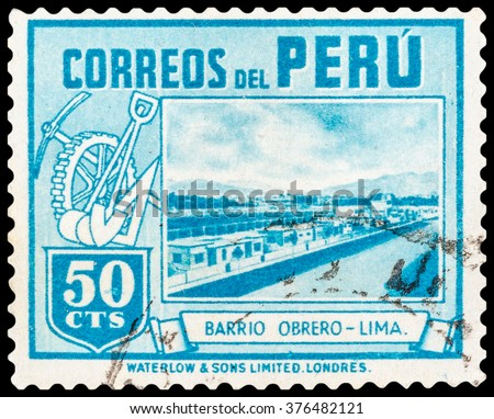 DZERZHINSK, RUSSIA - JANUARY 18, 2016: A postage stamp of PERU shows Bario Obrero - Lima, circa 1940 - stock photo