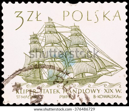 DZERZHINSK, RUSSIA - JANUARY 18, 2016: A postage stamp of POLAND shows Flying Cloud (clipper, 19th century), circa 1964 - stock photo