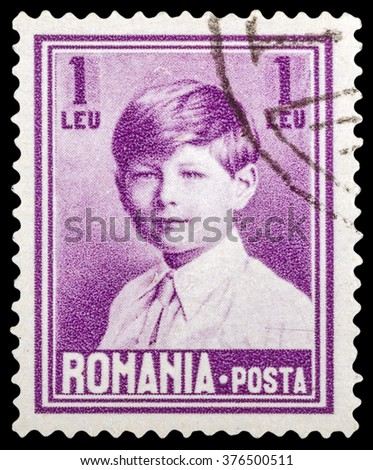 DZERZHINSK, RUSSIA - JANUARY 18, 2016: A postage stamp of ROMANIA shows portrait of King Michael, circa 1928 - stock photo