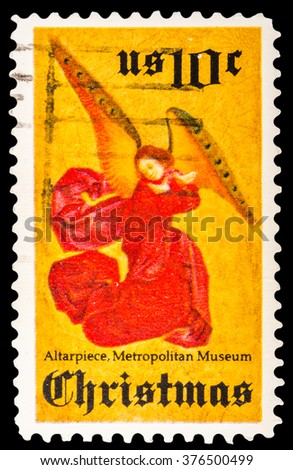 DZERZHINSK, RUSSIA - JANUARY 18, 2016: A postage stamp of USA shows Angel Christmas, circa 1974 - stock photo