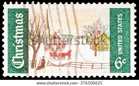 DZERZHINSK, RUSSIA - JANUARY 18, 2016: A postage stamp of USA shows Christmas Issue, Winter Sunday in Norway, Maine, circa 1969 - stock photo