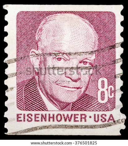 DZERZHINSK, RUSSIA - JANUARY 18, 2016: A postage stamp of USA shows portrait of Dwight Eisenhower the 34th President of the United States of America, circa 1971