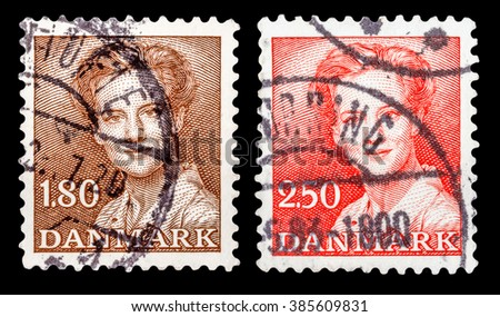 DZERZHINSK, RUSSIA - JANUARY 18, 2016: Set of a postage stamp of DENMARK shows Queen Margrethe II, circa 1982 - stock photo