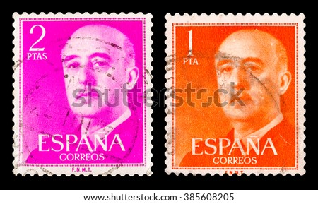 DZERZHINSK, RUSSIA - JANUARY 18, 2016: Set of a postage stamp of SPAIN shows portrait of Francisco Franco, circa 1961 - stock photo
