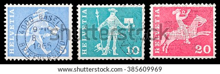 "DZERZHINSK, RUSSIA - JANUARY 18, 2016: Set of a postage stamp of SWITZERLAND shows 17th century Fribourg Cantonal messenger, ""Postal History and Architectural Monuments"", circa 1960 - stock photo"