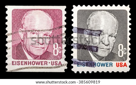 DZERZHINSK, RUSSIA - JANUARY 18, 2016: Set of a postage stamp of USA shows portrait of Dwight Eisenhower the 34th President of the United States of America, circa 1971 - stock photo