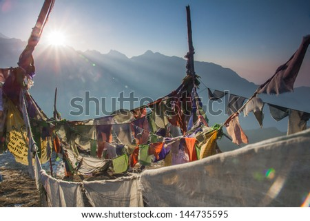 Dzongri scenic on sunset  3900 m.  Geochala Basecamp Kanchenjunga Nation Park Sikkim India - stock photo