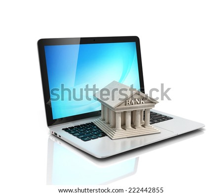 e-banking, e banking, laptop with bank 3d icon - stock photo