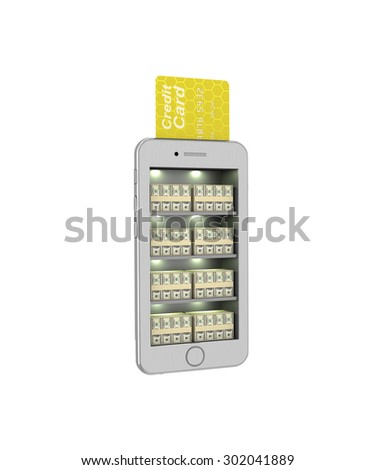 E-banking. Stack of currency in the smartphone. 3d illustration on a white background. Render. - stock photo