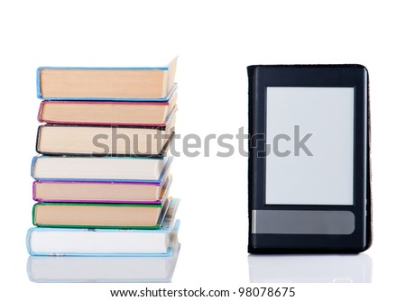 E-book and simple book on white isolated background - stock photo
