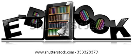 E-Book - Bookends and Tablet Pc / Tablet computer with library, between two bookends in the shape of text E-Book. Isolated on white background with reflections - stock photo