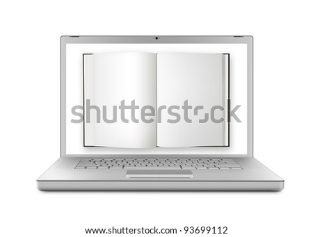 E-book concept with book on a modern laptop screen. Isolated on white background.