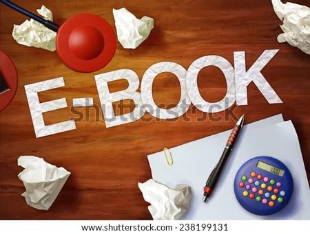 e-book desktop memo calculator office think organize - stock photo