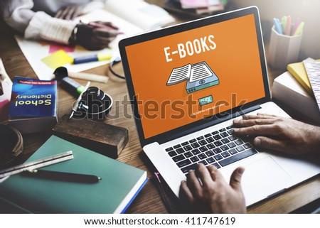 E-book E-Learning Electronic Internet Mobility Concept - stock photo