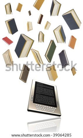 E-book, e-learning, modern education concept, distant learning, electronic book, all numbers are hand drawn by me - stock photo